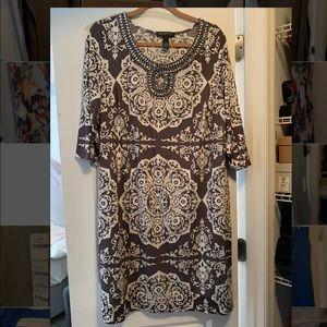 Long sleeve dress with rhinestone detail